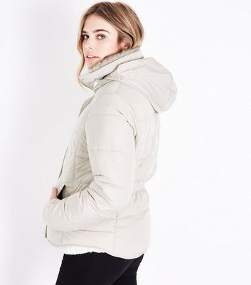 Cream Faux Fur Trim Padded Puffer Jacket New Look