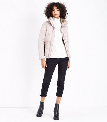 Mink Faux Fur Trim Padded Puffer Jacket New Look
