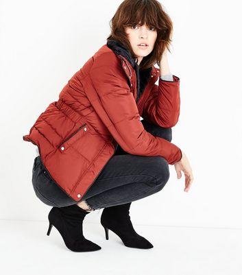 Rust Faux Fur Trim Padded Puffer Jacket New Look
