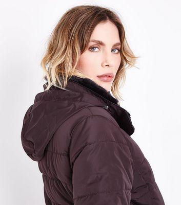 Dark Brown Faux Fur Trim Padded Puffer Jacket New Look