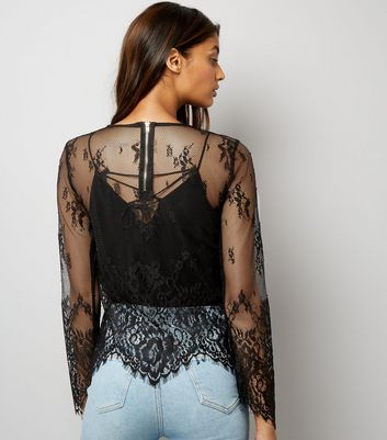 Black Lace Scallop Hem Top New Look