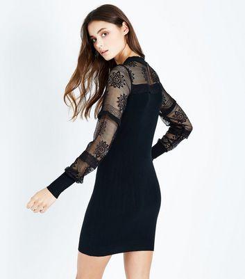 Blue Vanilla Black Lace Balloon Sleeve Dress New Look