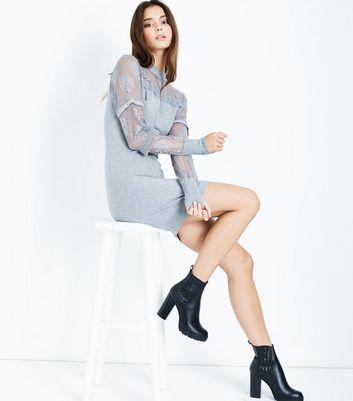 Blue Vanilla Grey Lace Balloon Sleeve Dress New Look