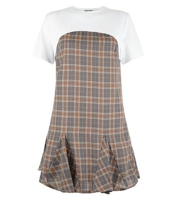 Grey Check 2 In 1 T-Shirt Dress New Look