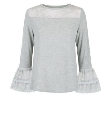 Blue Vanilla Grey Lace Frill Sleeve Top New Look