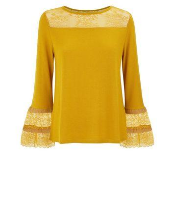 blue-vanilla-yellow-lace-frill-sleeve-top