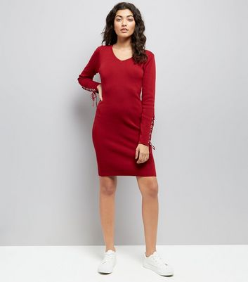 Pink Vanilla Burgundy Lace-Up Sleeve Dress New Look