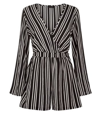 Black Stripe Flared Sleeve Playsuit New Look