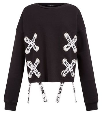 Teens Black New York Print Lace Up Sweater New Look