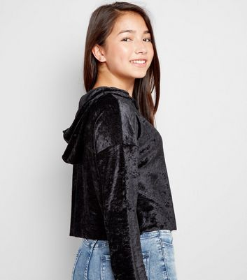 Teens Black Velvet Print Hoodie New Look