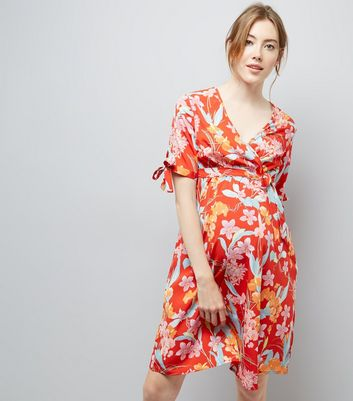 Maternity Red Floral Print Wrap Front Dress New Look