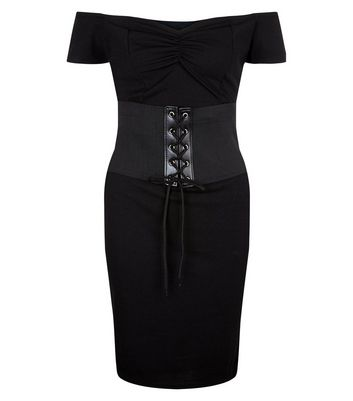 Pink Vanilla Black Corset Belt Bardot Dress New Look