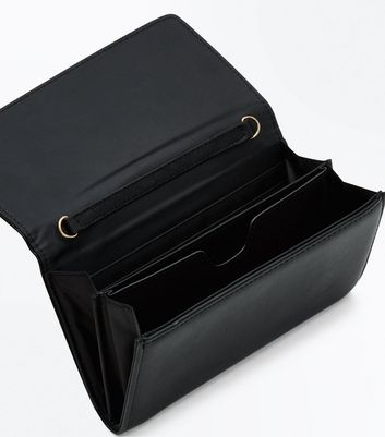 Black Fold Over Purse Clutch New Look