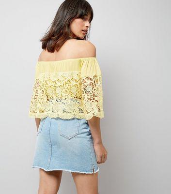 Blue Vanilla Yellow Lace Bardot Neck Top New Look