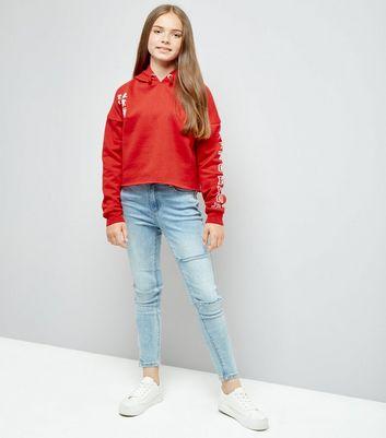 Teens Red Tokyo Embroidered Sleeve Hoodie New Look