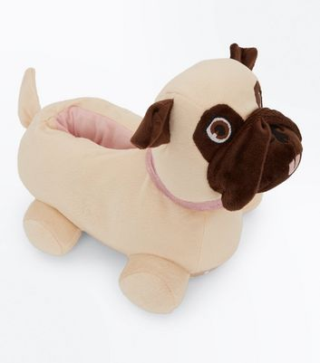 Teens Brown Pug Slippers New Look