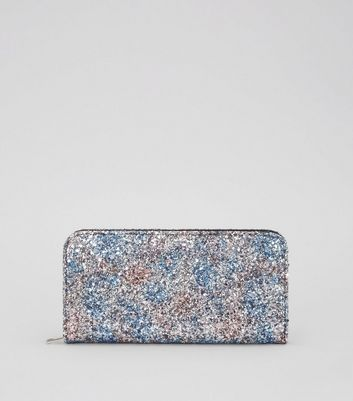 Multi-Coloured Glitter Zip Around Purse New Look