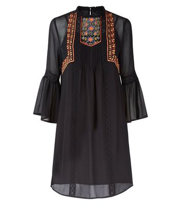 Black Embroidered Bell Sleeve Smock Dress New Look