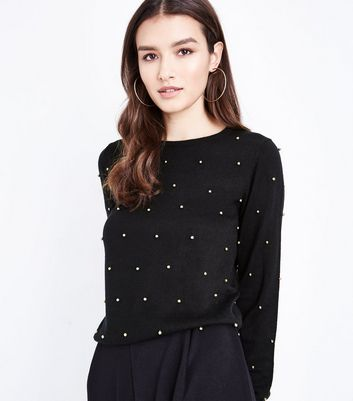 Black Bead Embellished Jumper New Look