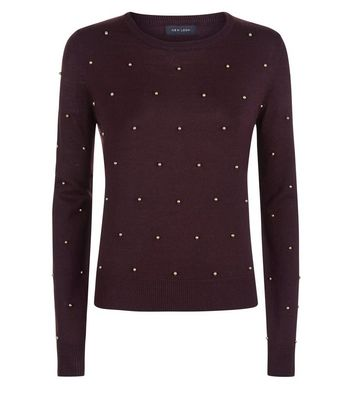 Burgundy Bead Embellished Jumper New Look