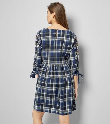 Blue Check Embroidered Sleeve Smock Dress New Look