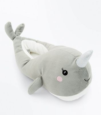 Teens Grey Narwhal Slippers New Look