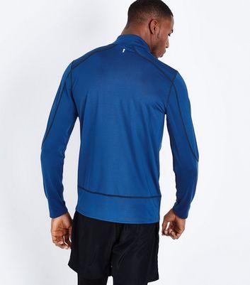 Blue Mesh Long Sleeve Sports Top New Look