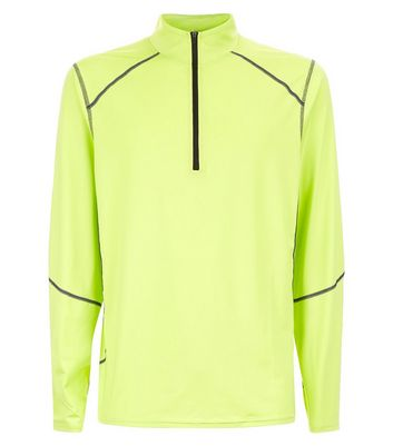 Yellow Mesh Long Sleeve Sports Top New Look