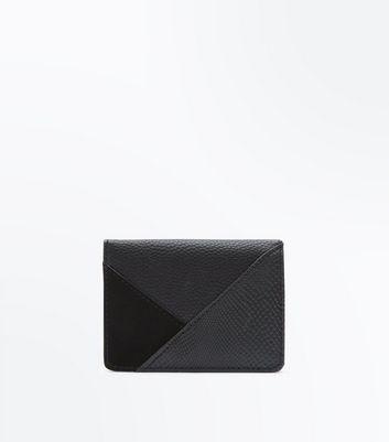 Black Geometric Foldover Cardholder New Look