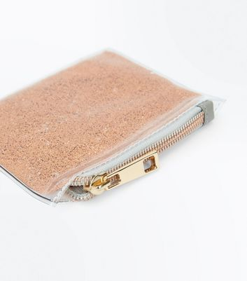 Rose Gold Glitter Transparent Zip Top Purse New Look