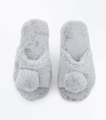 Teens Grey Faux Fur Pom Slippers New Look