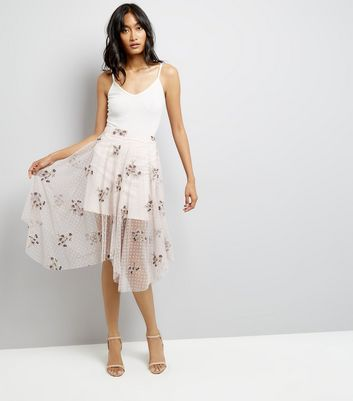 Pink Floral Embroidered Spot Mesh Hanky Hem Skirt New Look