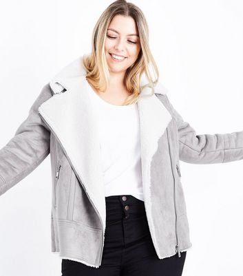 Curves Mink Faux Shearling Aviator Jacket New Look