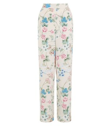 Shell Pink Floral Print Wide Leg Trousers New Look