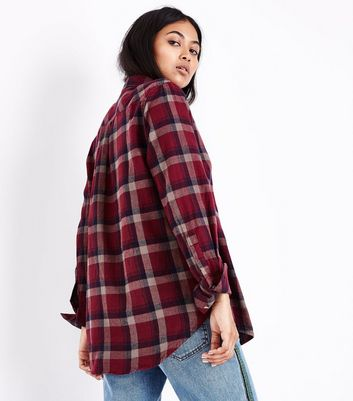 Petite Red Check Pocket Front Shirt New Look