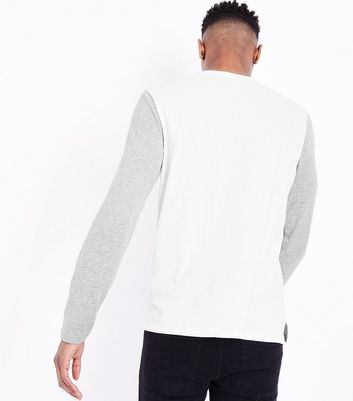 Grey Colour Block Long Sleeve T-Shirt New Look