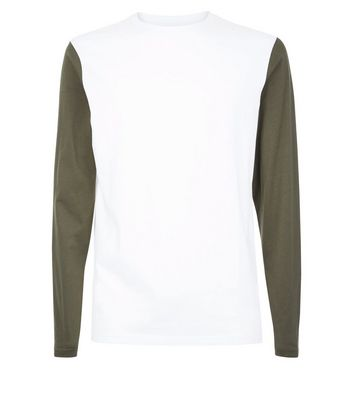 Khaki Colour Block Long Sleeve T-Shirt New Look