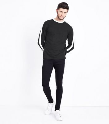 Black Stripe Side Long Sleeve T-Shirt New Look