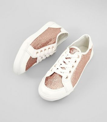 Wide Fit Rose Gold Sequin Panel Lace Up Trainers New Look