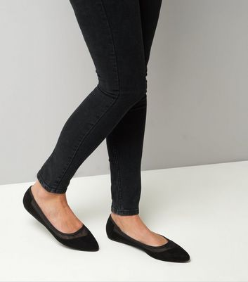Wide Fit Black Mesh Panel Pumps New Look