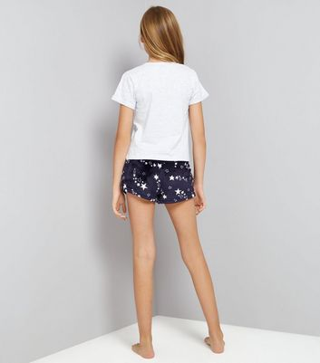 Teens Navy Give Me Space Fluffy Shorts Pyjama Set New Look
