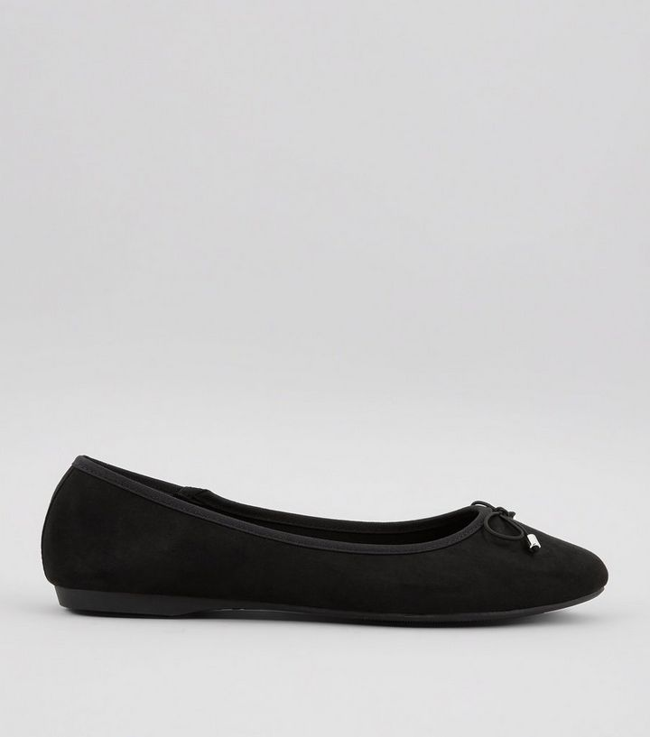 a20ff1c161 Wide Fit Black Suedette Pointed Ballet Pumps | New Look