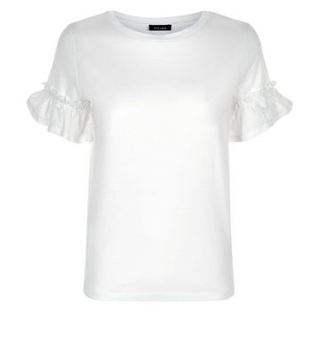 White Woven Frill Sleeve T-Shirt New Look