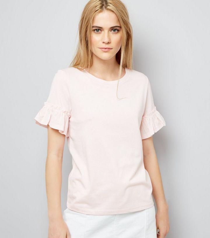 b7dd744b01e5c1 Pale Pink Woven Frill Sleeve Top
