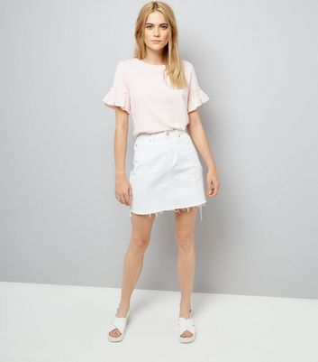 Pale Pink Woven Frill Sleeve Top New Look