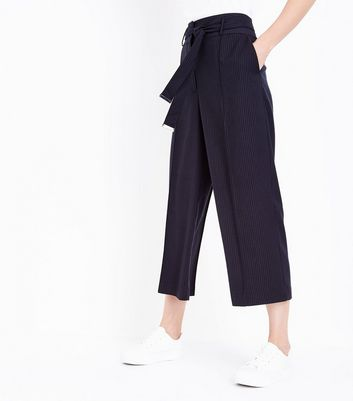 Navy Pinstripe Cropped Trousers New Look