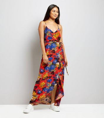 Petite Orange Floral Print Wrap Front Maxi Dress New Look
