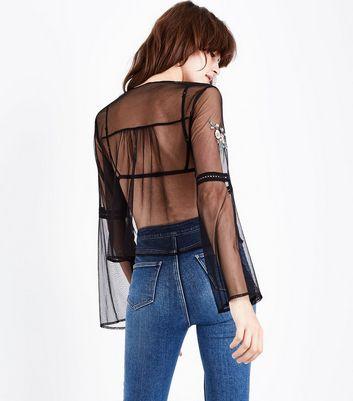 Black Sheer Mesh Embroidered Long Sleeve Top New Look