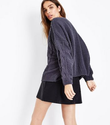 Dark Grey Chenille Cable Knit Oversized Jumper New Look