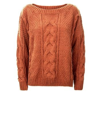 Rust Chenille Cable Knit Oversized Jumper New Look
